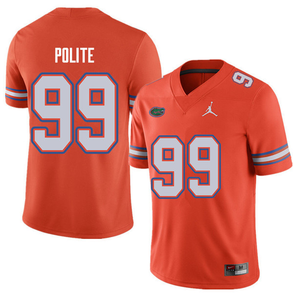 Jordan Brand Men #99 Jachai Polite Florida Gators College Football Jerseys Sale-Orange