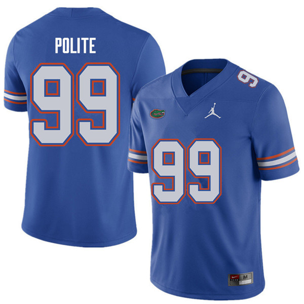 Jordan Brand Men #99 Jachai Polite Florida Gators College Football Jerseys Sale-Royal