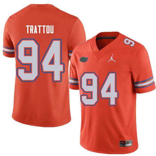 Jordan Brand Men #94 Justin Trattou Florida Gators College Football Jerseys Sale-Orange