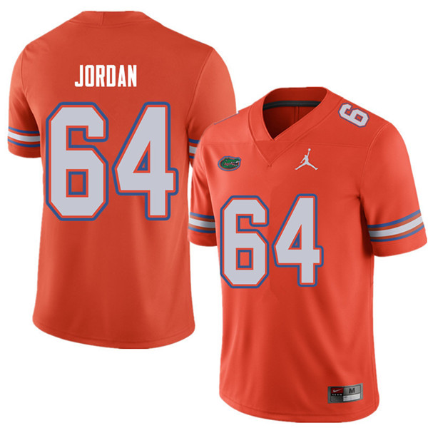 Jordan Brand Men #64 Tyler Jordan Florida Gators College Football Jerseys Sale-Orange