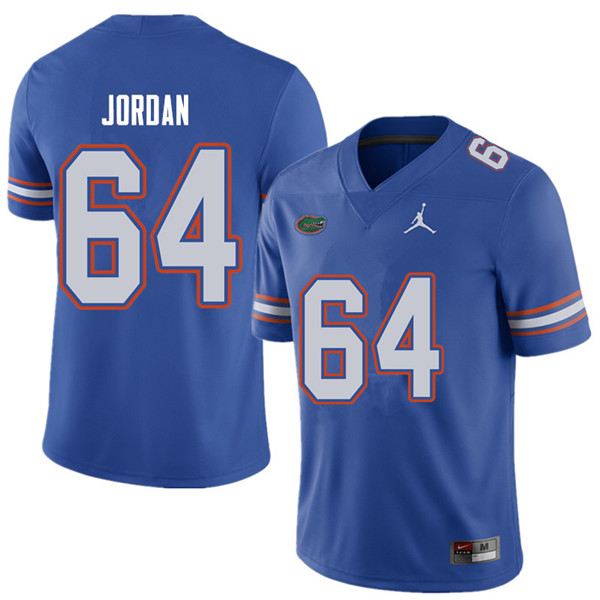 Jordan Brand Men #64 Tyler Jordan Florida Gators College Football Jerseys Sale-Royal