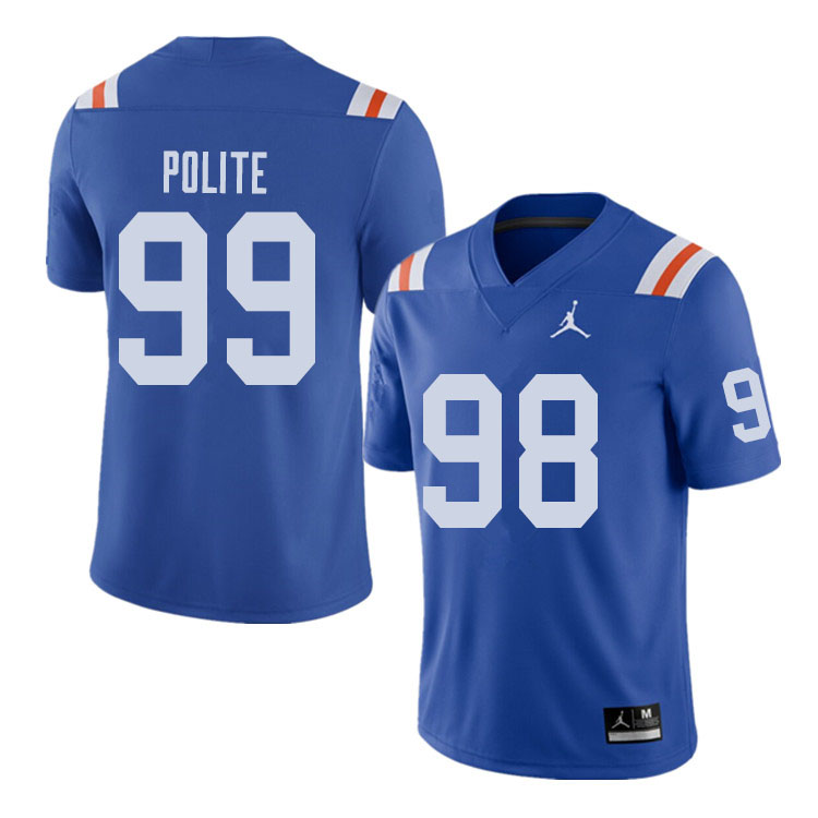 Jordan Brand Men #99 Jachai Polite Florida Gators Throwback Alternate College Football Jerseys Sale-