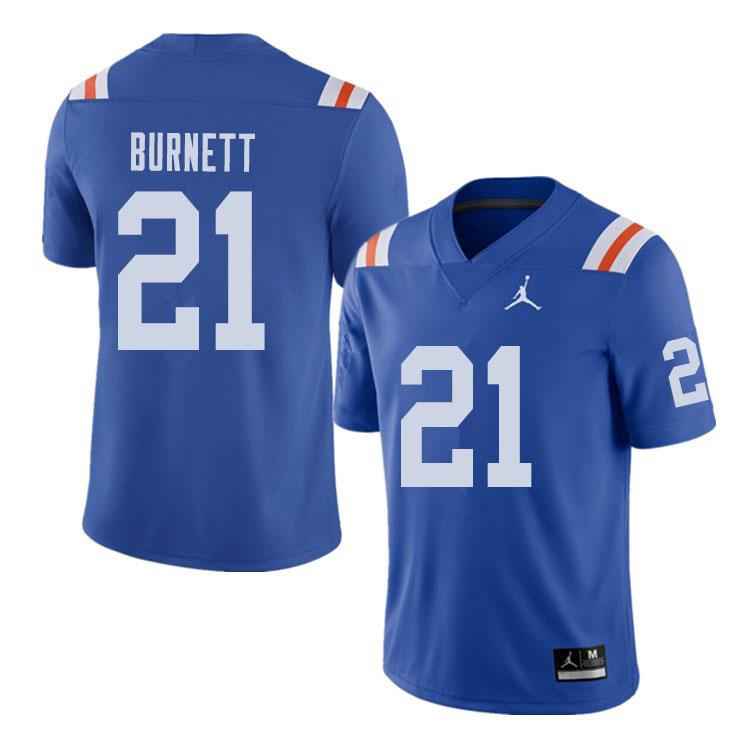 Jordan Brand Men #21 McArthur Burnett Florida Gators Throwback Alternate College Football Jerseys Sa