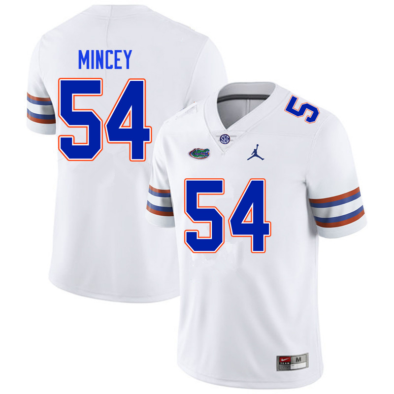 Men #54 Gerald Mincey Florida Gators College Football Jerseys Sale-White