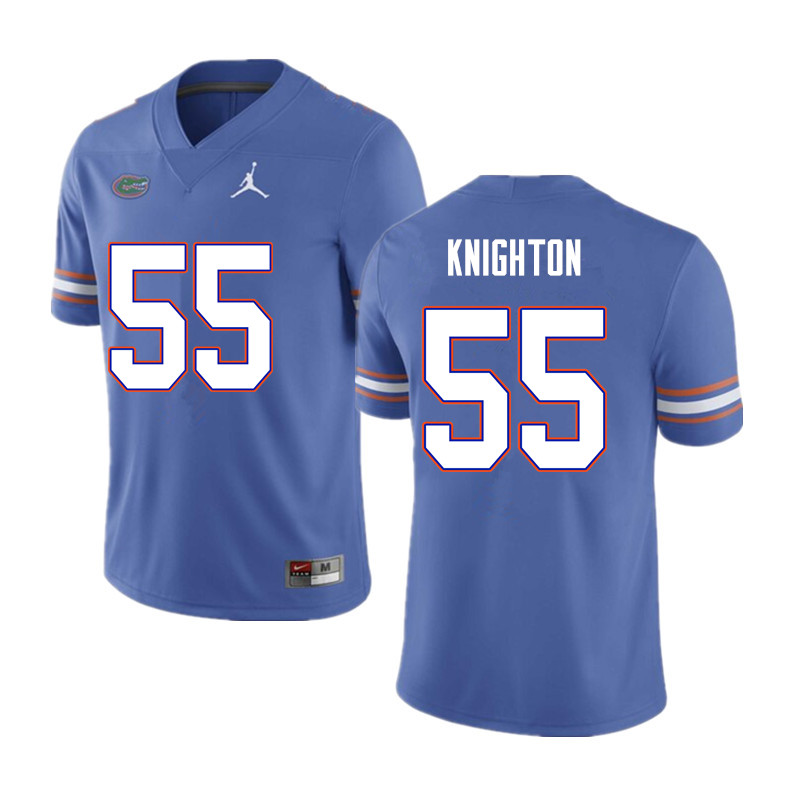 Men #55 Hayden Knighton Florida Gators College Football Jerseys Sale-Blue