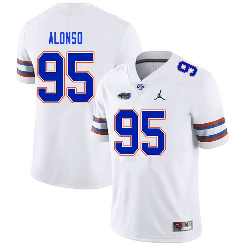 Men #95 Lucas Alonso Florida Gators College Football Jerseys Sale-White