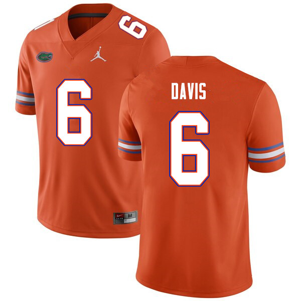 Men #6 Shawn Davis Florida Gators College Football Jerseys Sale-Orange