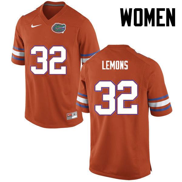 Women Florida Gators #32 Adarius Lemons College Football Jerseys-Orange