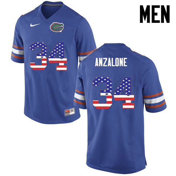Men Florida Gators #34 Alex Anzalone College Football USA Flag Fashion Jerseys-Blue