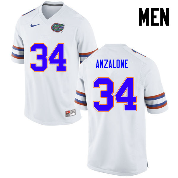 Men Florida Gators #34 Alex Anzalone College Football Jerseys-White