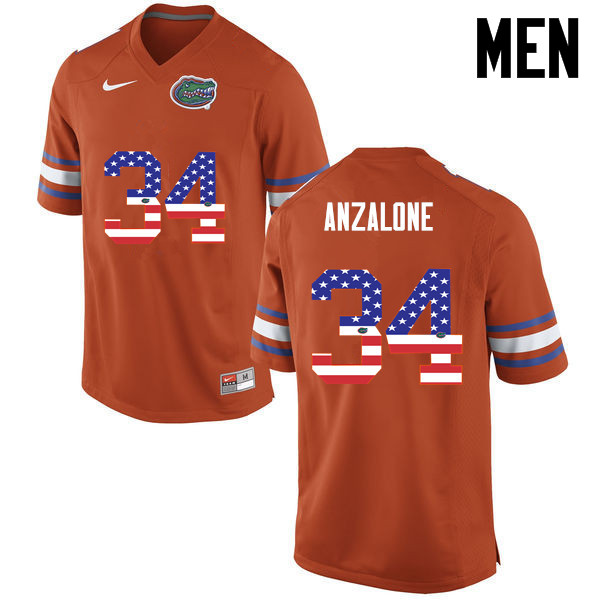 Men Florida Gators #34 Alex Anzalone College Football USA Flag Fashion Jerseys-Orange
