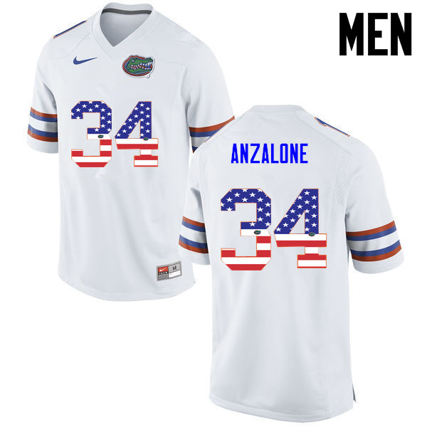 Men Florida Gators #34 Alex Anzalone College Football USA Flag Fashion Jerseys-White