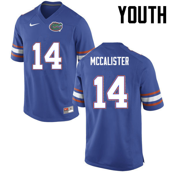 Youth Florida Gators #14 Alex McCalister College Football Jerseys-Blue