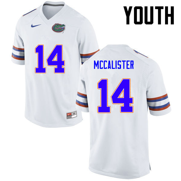 Youth Florida Gators #14 Alex McCalister College Football Jerseys-White