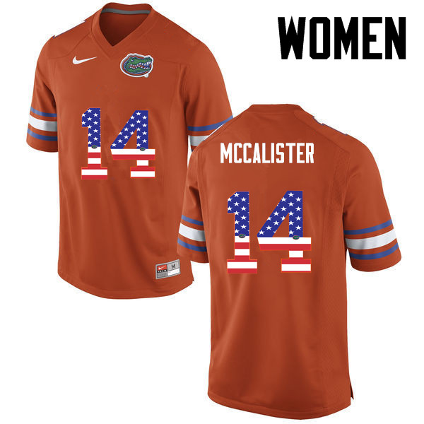 Women Florida Gators #14 Alex McCalister College Football USA Flag Fashion Jerseys-Orange