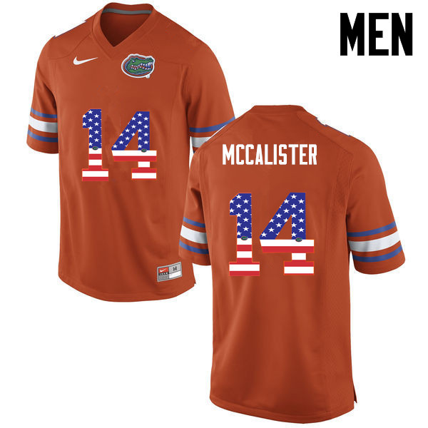 Men Florida Gators #14 Alex McCalister College Football USA Flag Fashion Jerseys-Orange