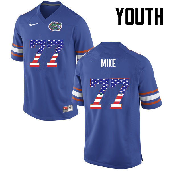 Youth Florida Gators #77 Andrew Mike College Football USA Flag Fashion Jerseys-Blue