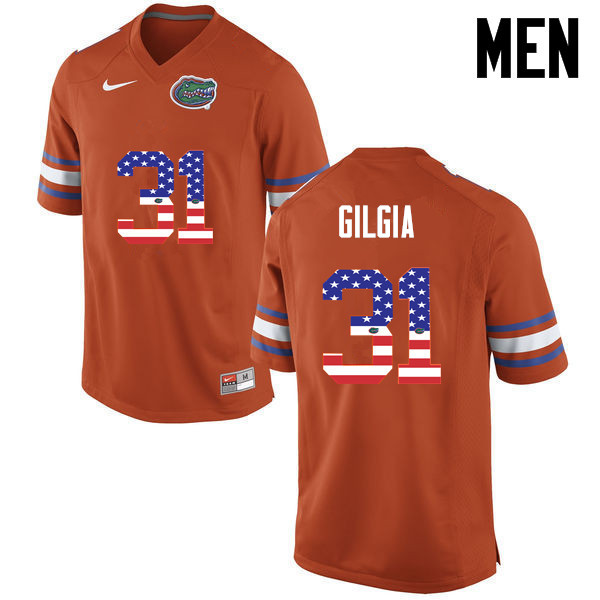 Men Florida Gators #31 Anthony Gigla College Football USA Flag Fashion Jerseys-Orange