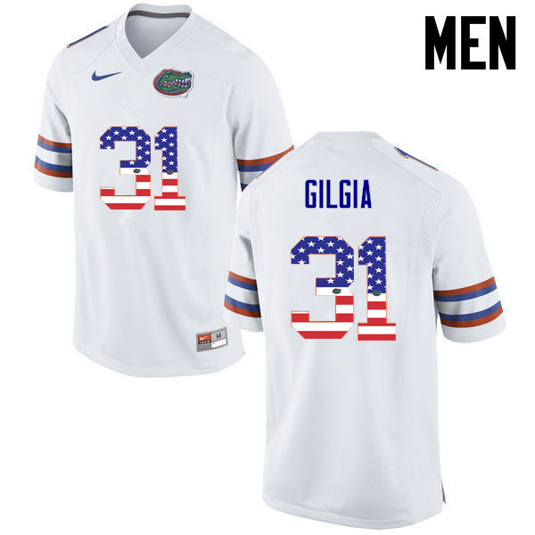 Men Florida Gators #31 Anthony Gigla College Football USA Flag Fashion Jerseys-White