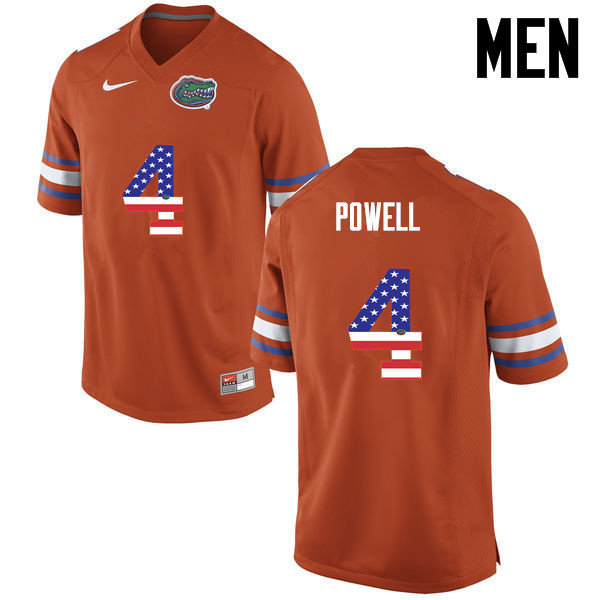Men Florida Gators #4 Brandon Powell College Football USA Flag Fashion Jerseys-Orange