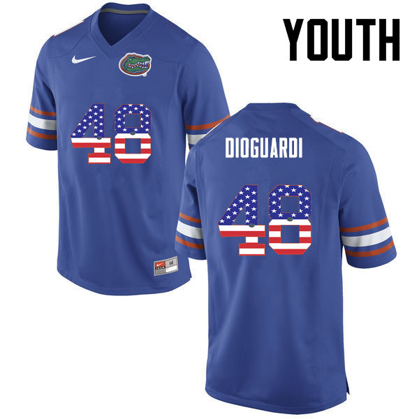 Youth Florida Gators #48 Brett DioGuardi College Football USA Flag Fashion Jerseys-Blue