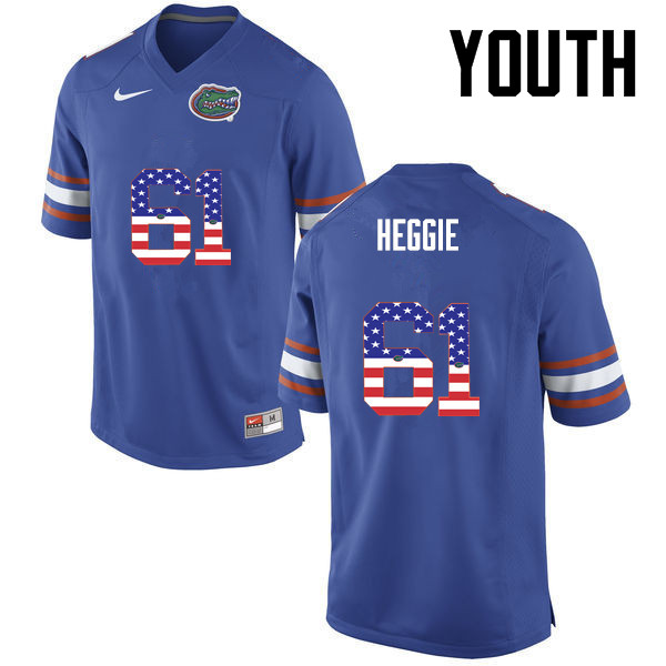 Youth Florida Gators #61 Brett Heggie College Football USA Flag Fashion Jerseys-Blue