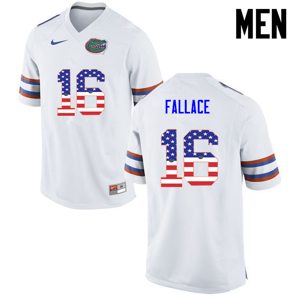 Men Florida Gators #16 Brian Fallace College Football USA Flag Fashion Jerseys-White