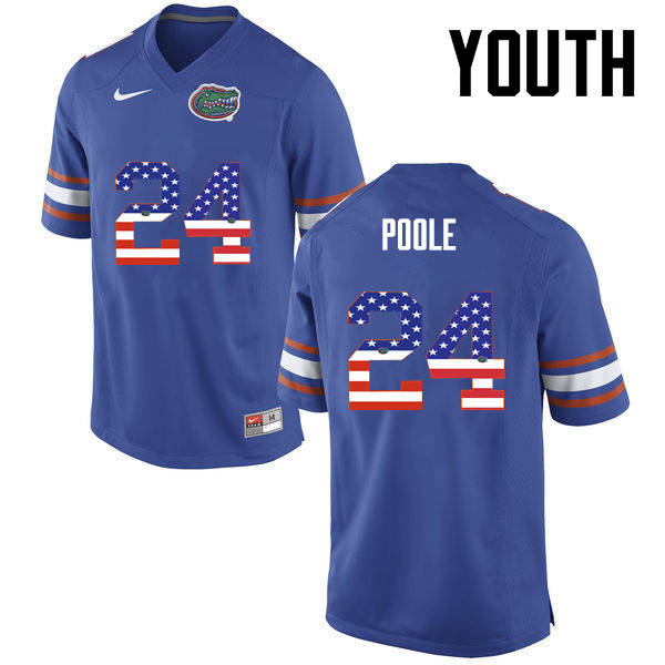 Youth Florida Gators #24 Brian Poole College Football USA Flag Fashion Jerseys-Blue