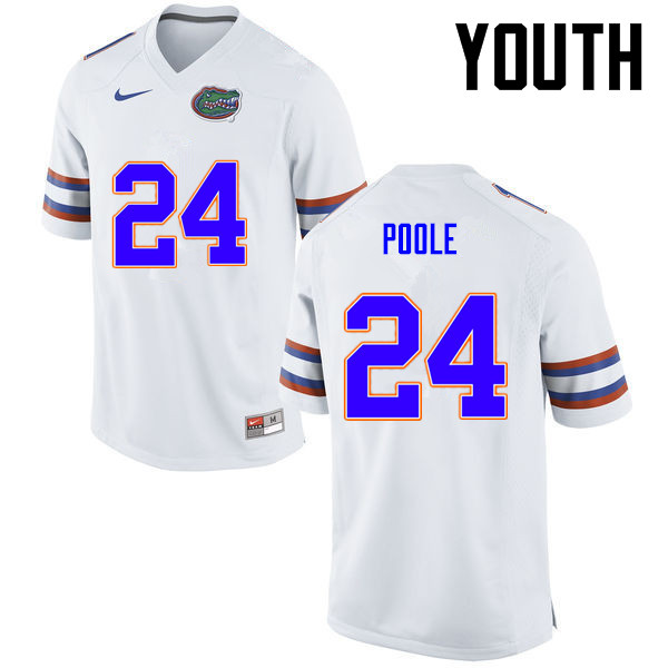 Youth Florida Gators #24 Brian Poole College Football Jerseys-White