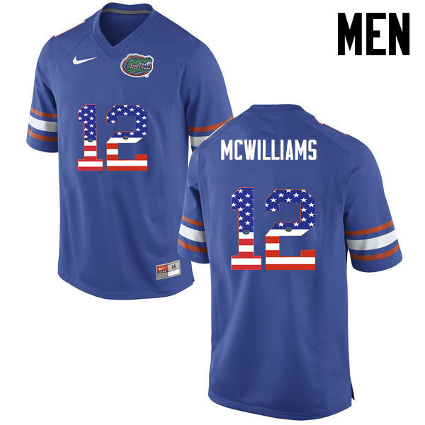 Men Florida Gators #12 C.J. McWilliams College Football USA Flag Fashion Jerseys-Blue