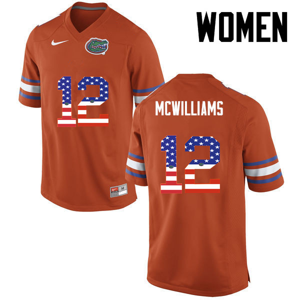 Women Florida Gators #12 C.J. McWilliams College Football USA Flag Fashion Jerseys-Orange