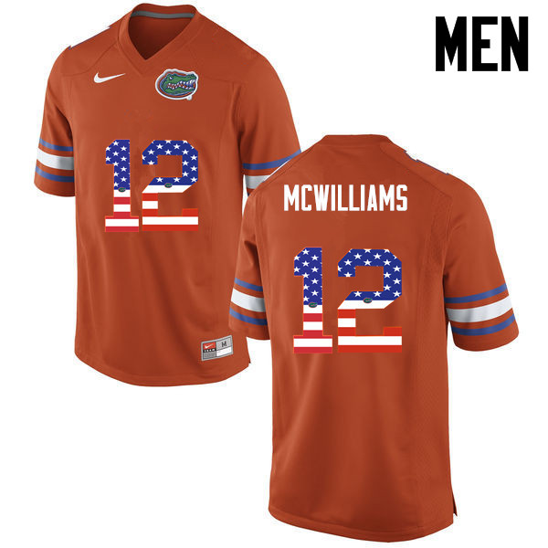 Men Florida Gators #12 C.J. McWilliams College Football USA Flag Fashion Jerseys-Orange