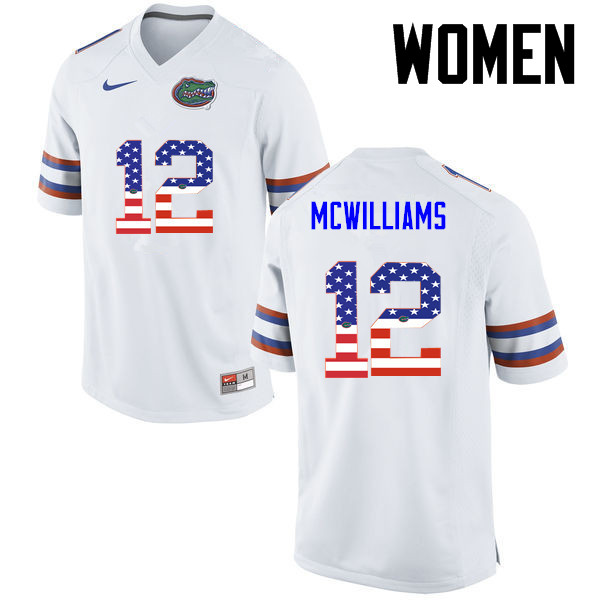 Women Florida Gators #12 C.J. McWilliams College Football USA Flag Fashion Jerseys-White