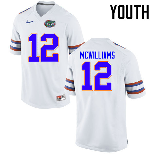 Youth Florida Gators #12 C.J. McWilliams College Football Jerseys Sale-White