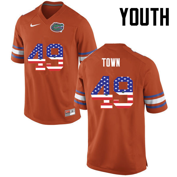 Youth Florida Gators #49 Cameron Town College Football USA Flag Fashion Jerseys-Orange