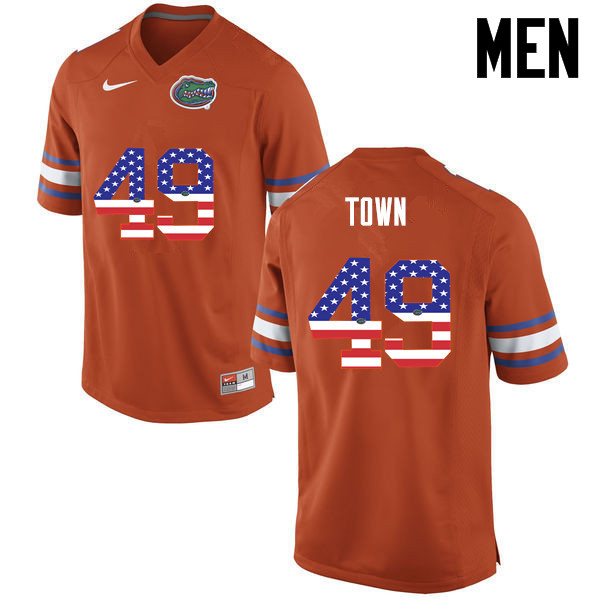 Men Florida Gators #49 Cameron Town College Football USA Flag Fashion Jerseys-Orange - Click Image to Close
