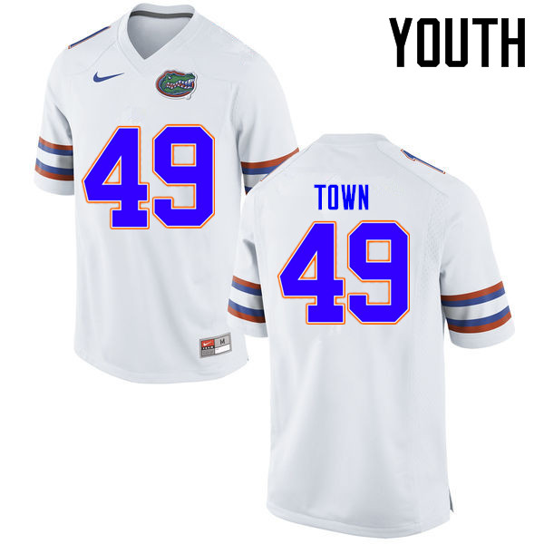 Youth Florida Gators #49 Cameron Town College Football Jerseys Sale-White