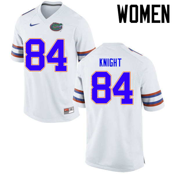 Women Florida Gators #84 Camrin Knight College Football Jerseys Sale-White