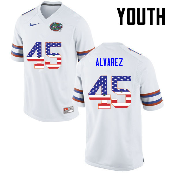 Youth Florida Gators #45 Carlos Alvarez College Football USA Flag Fashion Jerseys-White