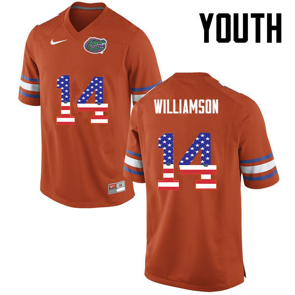 Youth Florida Gators #14 Chris Williamson College Football USA Flag Fashion Jerseys-Orange