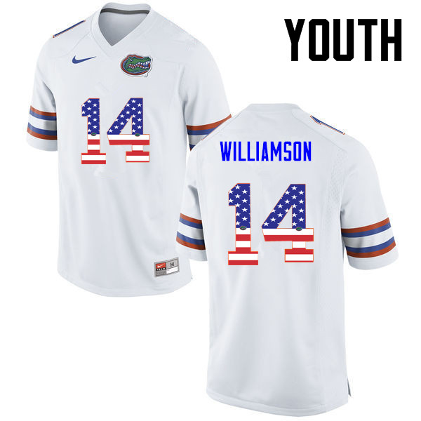 Youth Florida Gators #14 Chris Williamson College Football USA Flag Fashion Jerseys-White