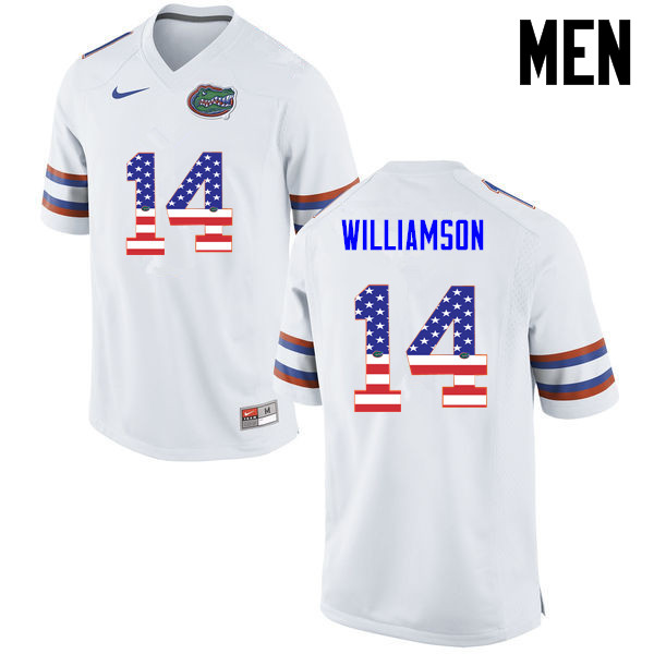 Men Florida Gators #14 Chris Williamson College Football USA Flag Fashion Jerseys-White