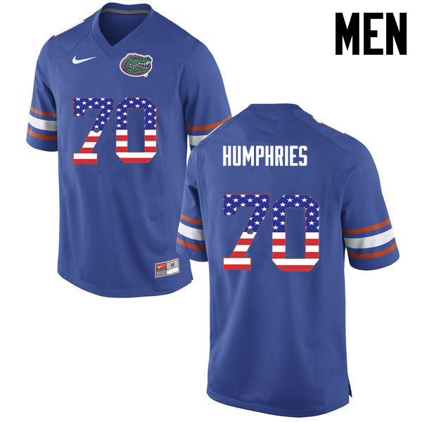 Men Florida Gators #70 D.J. Humphries College Football USA Flag Fashion Jerseys-Blue