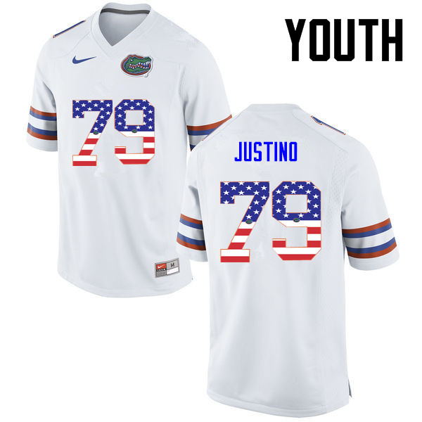 Youth Florida Gators #79 Daniel Justino College Football USA Flag Fashion Jerseys-White