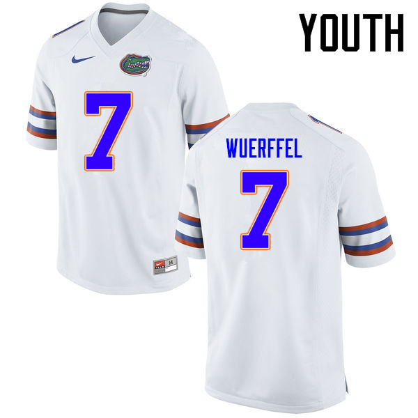 Youth Florida Gators #7 Danny Wuerffel College Football Jerseys Sale-White