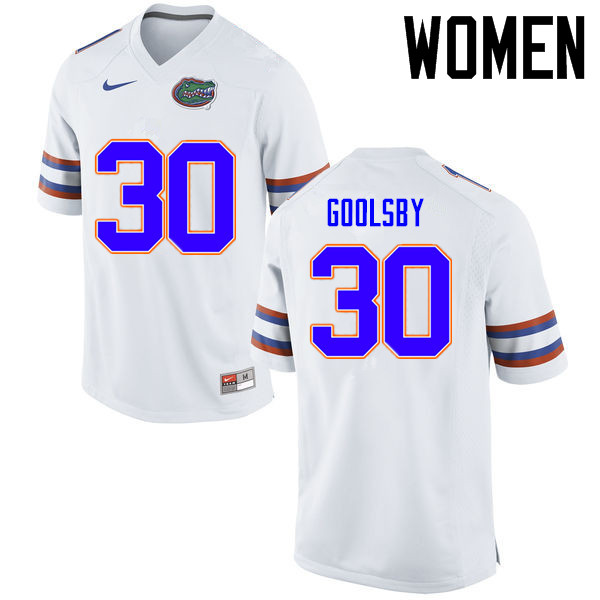 Women Florida Gators #30 DeAndre Goolsby College Football Jerseys Sale-White