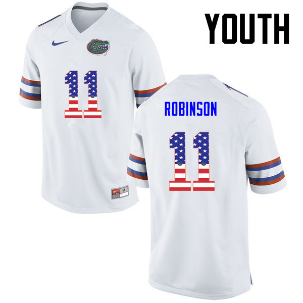 Youth Florida Gators #11 Demarcus Robinson College Football USA Flag Fashion Jerseys-White