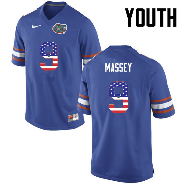 Youth Florida Gators #9 Dre Massey College Football USA Flag Fashion Jerseys-Blue