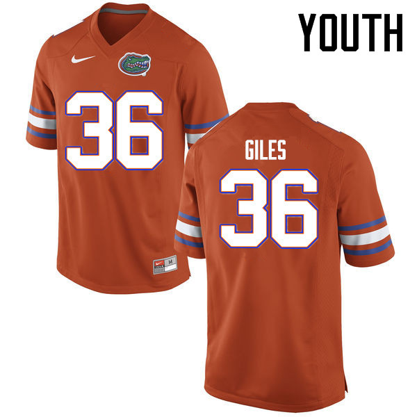 Youth Florida Gators #36 Eddie Giles College Football Jerseys Sale-Orange