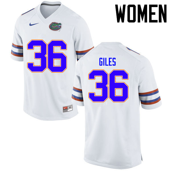 Women Florida Gators #36 Eddie Giles College Football Jerseys Sale-White